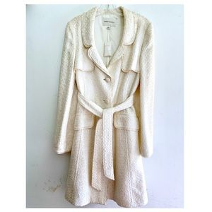 Banana Republic Off White Boucle Trench Coat NWT